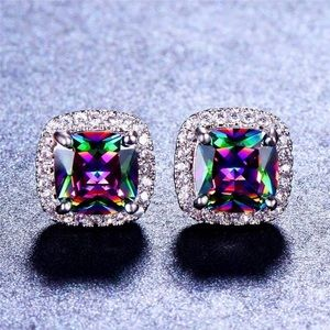 Sterling Silver Rainbow Zircon Stone Earrings